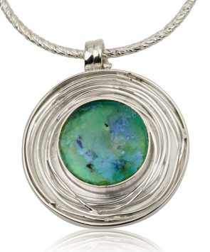 Silver Hand Made Roman Glass Necklace