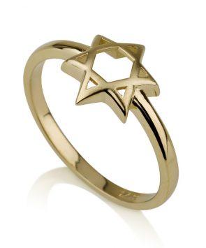 14K Gold Star of David Ring
