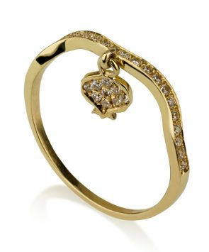 14K Gold Ring with Pomegranate set with Diamonds