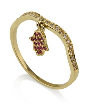 14K Gold Ring with Hamsa  set with Diamonds and Ruby
