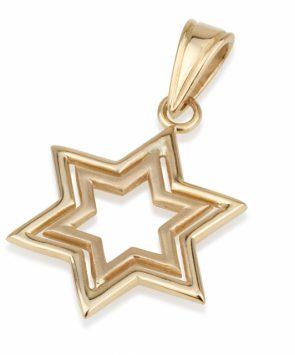 14k Gold Star of David Pendant
