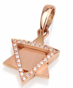 Deluxe 18K Gold Star of David pendant with diamonds