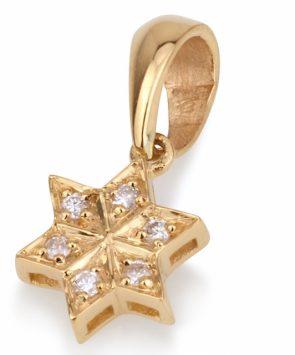 18K Gold star of David with diamonds