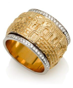 18K Gold Jerusalem Motif Spinning Ring with Diamonds