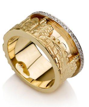 14K Gold Jerusalem Skyline Ring with Diamonds