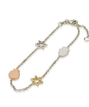 14K Gold Jewish Bracelet with Charms