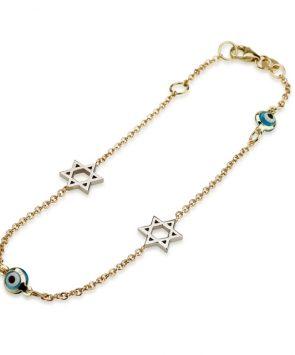 14K Gold Bracelet with Star of David Charms