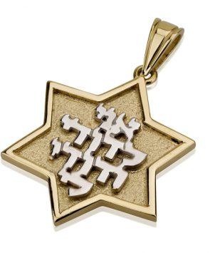 14K Gold Star of David Pendant with Ani Ledodi