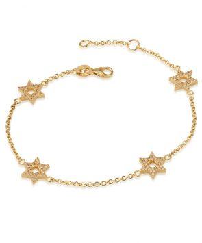 18K Gold Bracelet with diamonds Star of David Charms