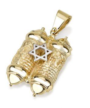 14k Gold Torah Scroll Pendant with Star of David