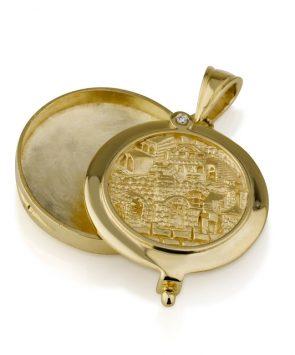 14k Gold Jerusalem with diamond Pendant