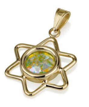 14k gold Star of David pendant with Roman Glass