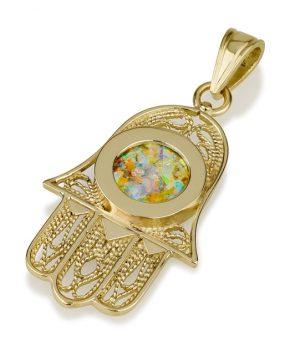 14k Gold Hamsa pendant with Roman Glass