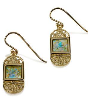 14k gold Roman Glass earrings