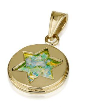 14k gold Roman Glass pendant