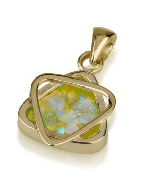 14k gold Roman Glass pendant with Star of David